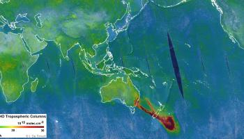 A plume of formaldehyde gas is seen travelling southeast over New Zealand