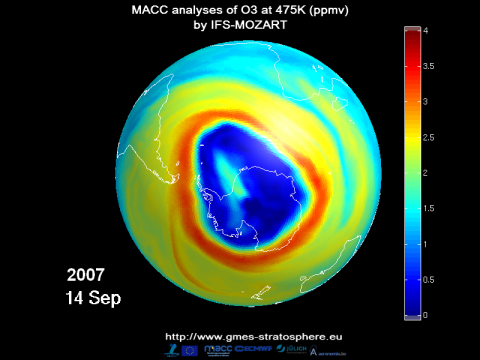 Antarctic ozone hole in 2007